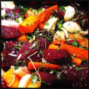 rödbetor, morötter och lök