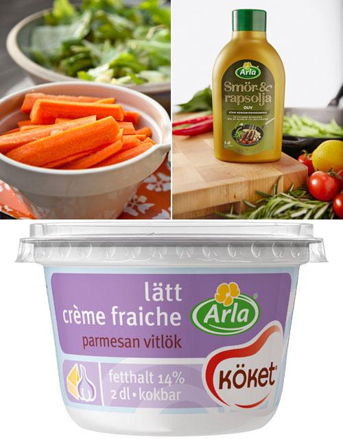 Creme fraiche parmesan vitlök recept