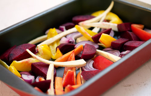 ugnsrostade grönsaker med